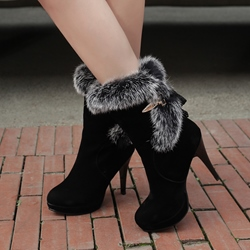 Shoespie Black Faux-fur Brimmed Stiletto Heel Ankle Boots