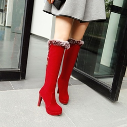 Shoespie Hairy Side Zipper Knee High Boots