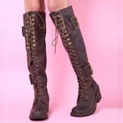Shoespie Vintage Brown Lace Up Knee High Boots