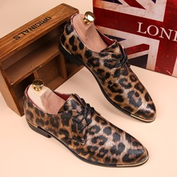 Shoespie Leopard Print Lace Up Men Leather Shoes