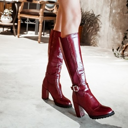 Shoespie Patent Leather Buckles Chunky Heel Knee High Boots