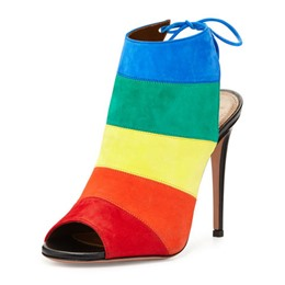 Shoespie Contrast Color Pee Toe Dress Sandals