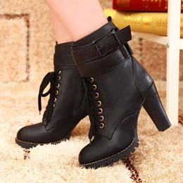 Shoespie Lace up Buckles Chunky Heel Ankle Boots