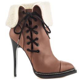 Shoespie Plush Side Lace up High Heels Boots