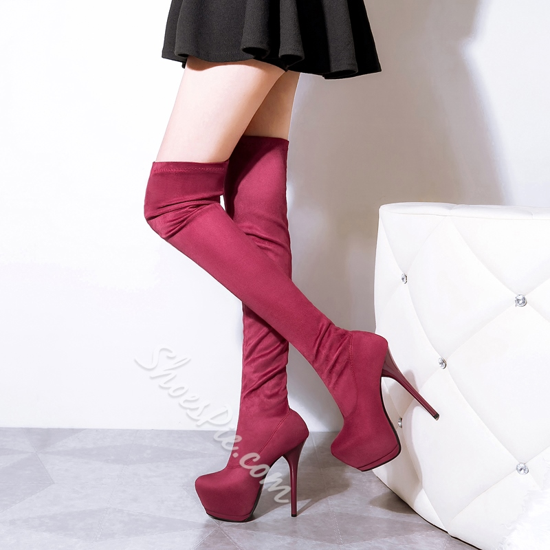 Shoespie Solid Color Platform Stiletto Heel Knee High Boots