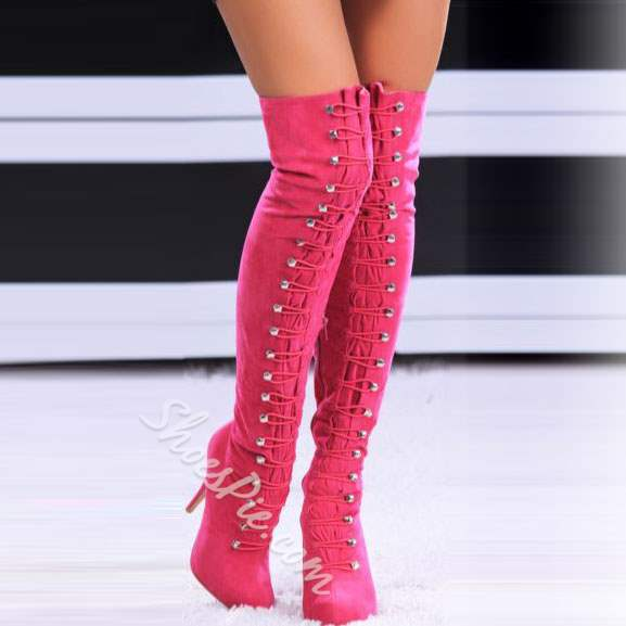 Sexy Buttons Solid Color Knee High Boots