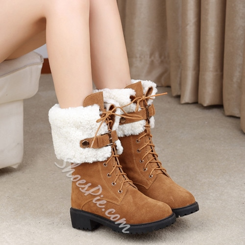Fashionable Lace-up Plush Snow Boots