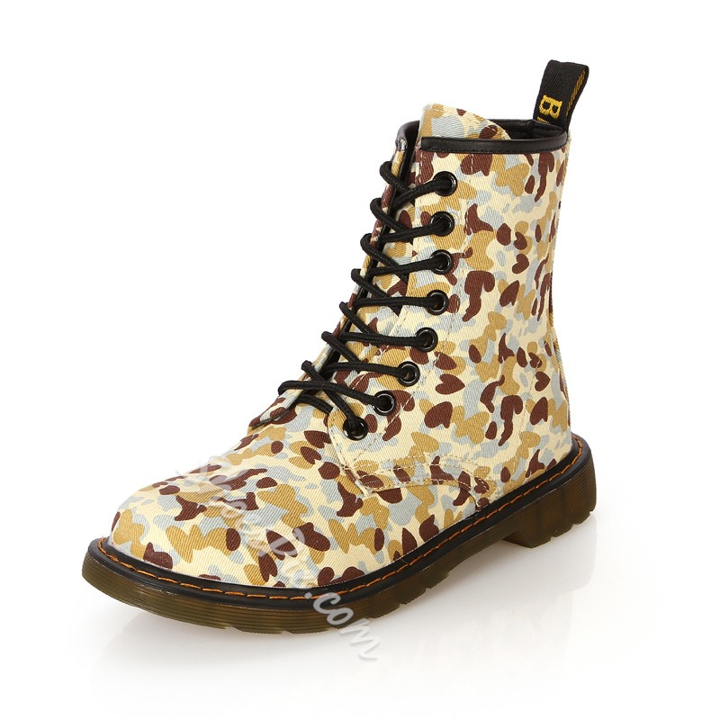 Shoespie Camo Print Lace Up Martin Boots