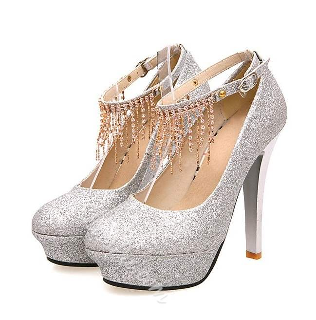 Shoespie Sequined Ankle Wrap Tassel Platform Heels