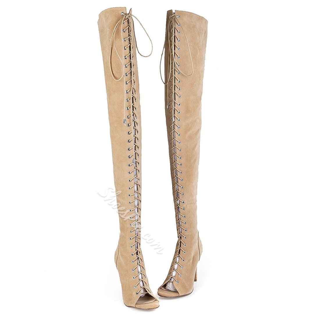 Shoespie Peep toe Stiletto Heel Thigh High Boots