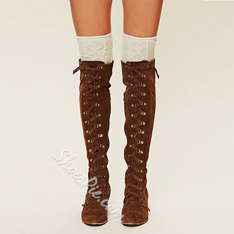 Shoespie Flat Lace up Thigh High Boots- Shoespie.com
