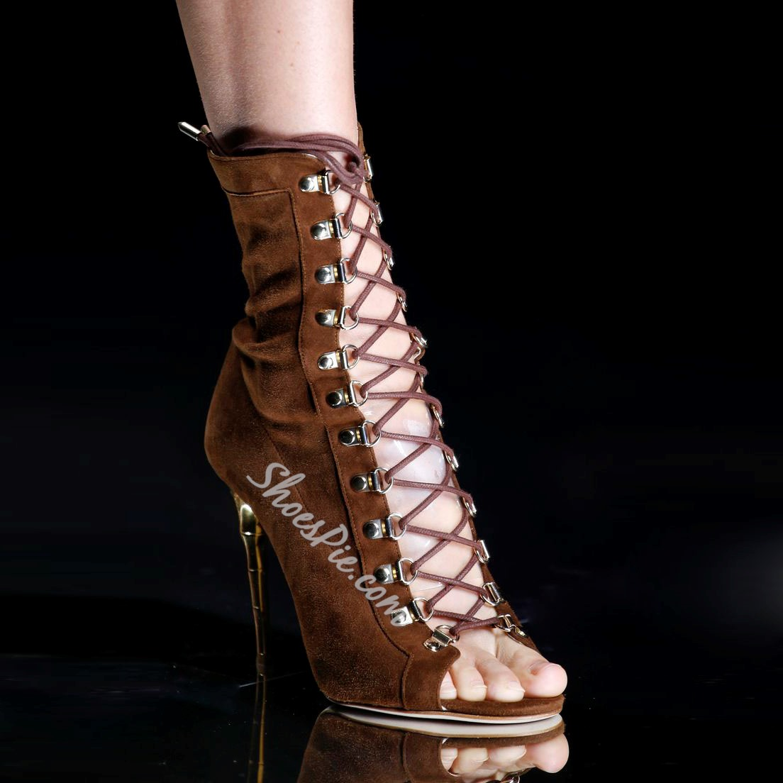 Shoespie Unique Brown Lace Up Stiletto Heel Dress Sandals