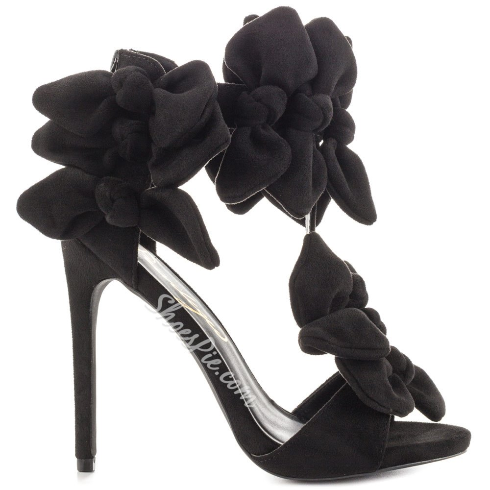 Shoespie Black Suede Dress Sandals