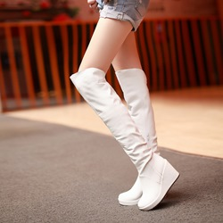 Shoespie Solid Color Wedge Knee High Boots