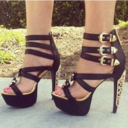 Fashionable Black Coppy Leather Amazing Buckle Decoration High Heel Sandals