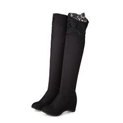 Shoespie Black Lace Wedge Thigh High Boots