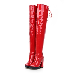 Shoespie Patent Leather Chunky Heel Knee High Boots