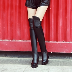 Shoespie Solid Color Flat Heel Knee High Boots