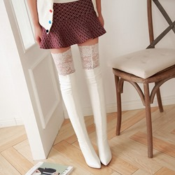 Shoespie Lace Inset Knee High Boots