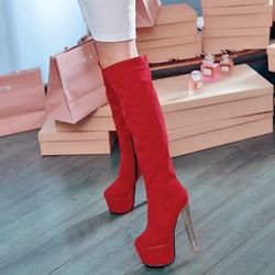 Shoespie Suede Platform Knee High Boots
