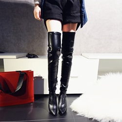 Shoespie Solid Color Low Heel Knee High Boots
