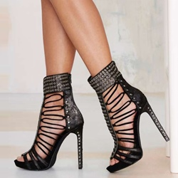 Shoespie RivetS Studded Stiletto Heel Dress Sandals