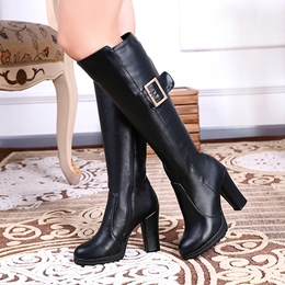 Shoespie Giant Buckles Chunky Heel Knee High Boots