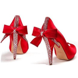 Gorgeous Red Suede Bowtie & Rhinestone Decoration High Heel Shoes