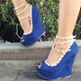 Shoespie Rivet Decorated Ankle Wrap Peep-toe Wedge Sandals
