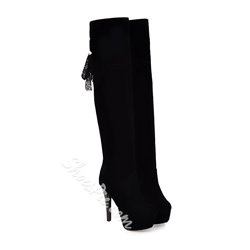 Shoespie Metal Decoration Knee High Boots
