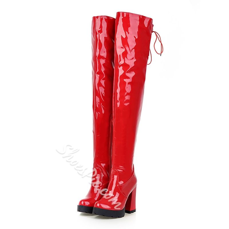 Shoespie Patent Chunky Heel Knee High Boots