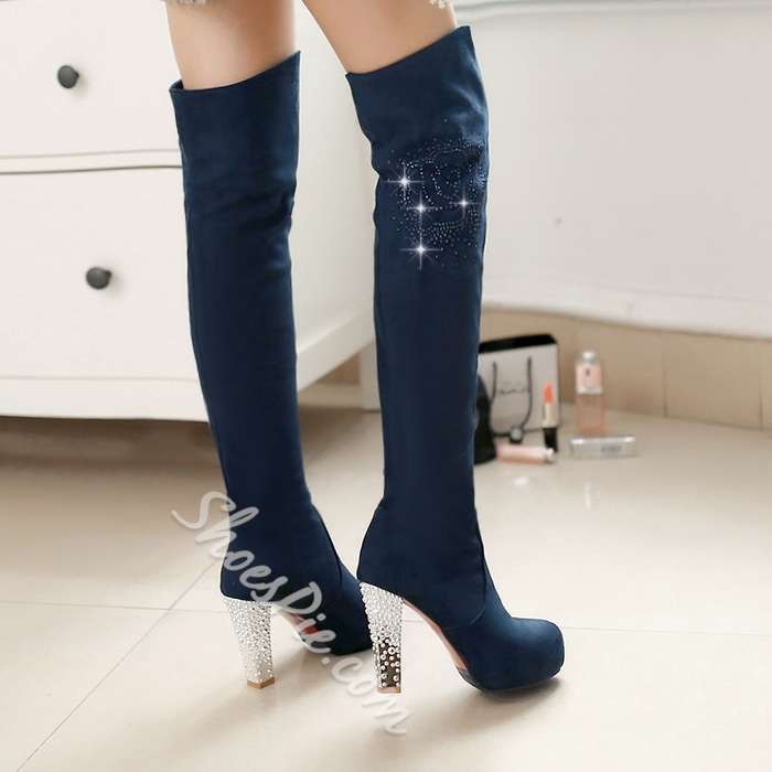 Shoespie Rhinestone Suede Thigh High Boots