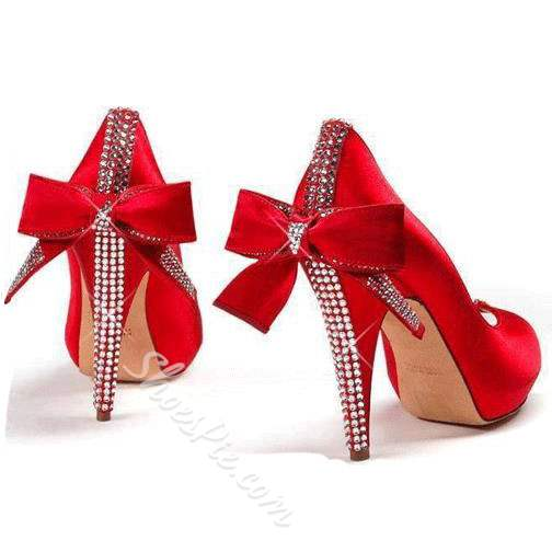 Shoespie Brilliant Red Back Bow Rhinestone Bridal Shoes