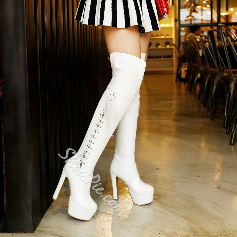 Shoespie Sexy Side Lace up Thigh High Boots