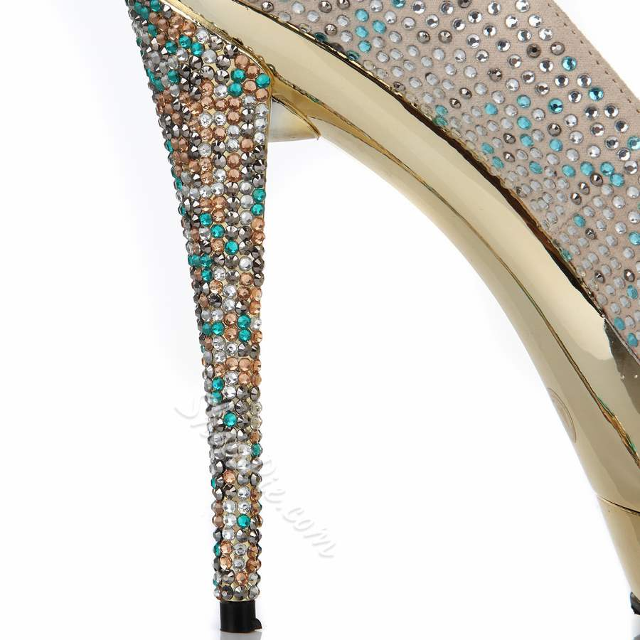 Hot Luxurious Rhinestone Platform Stiletto Heels