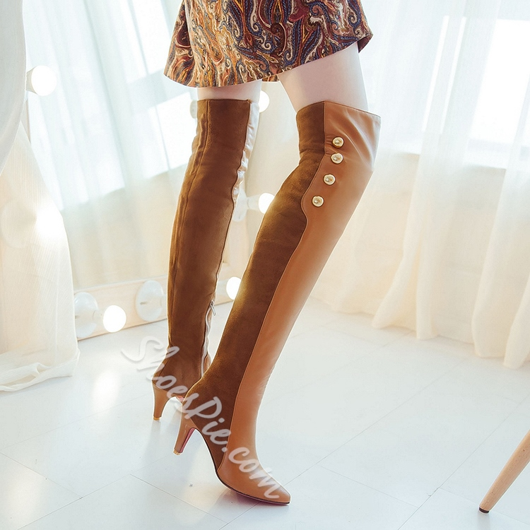 Shoespie Simply Rivet Low Heel Knee High Boots