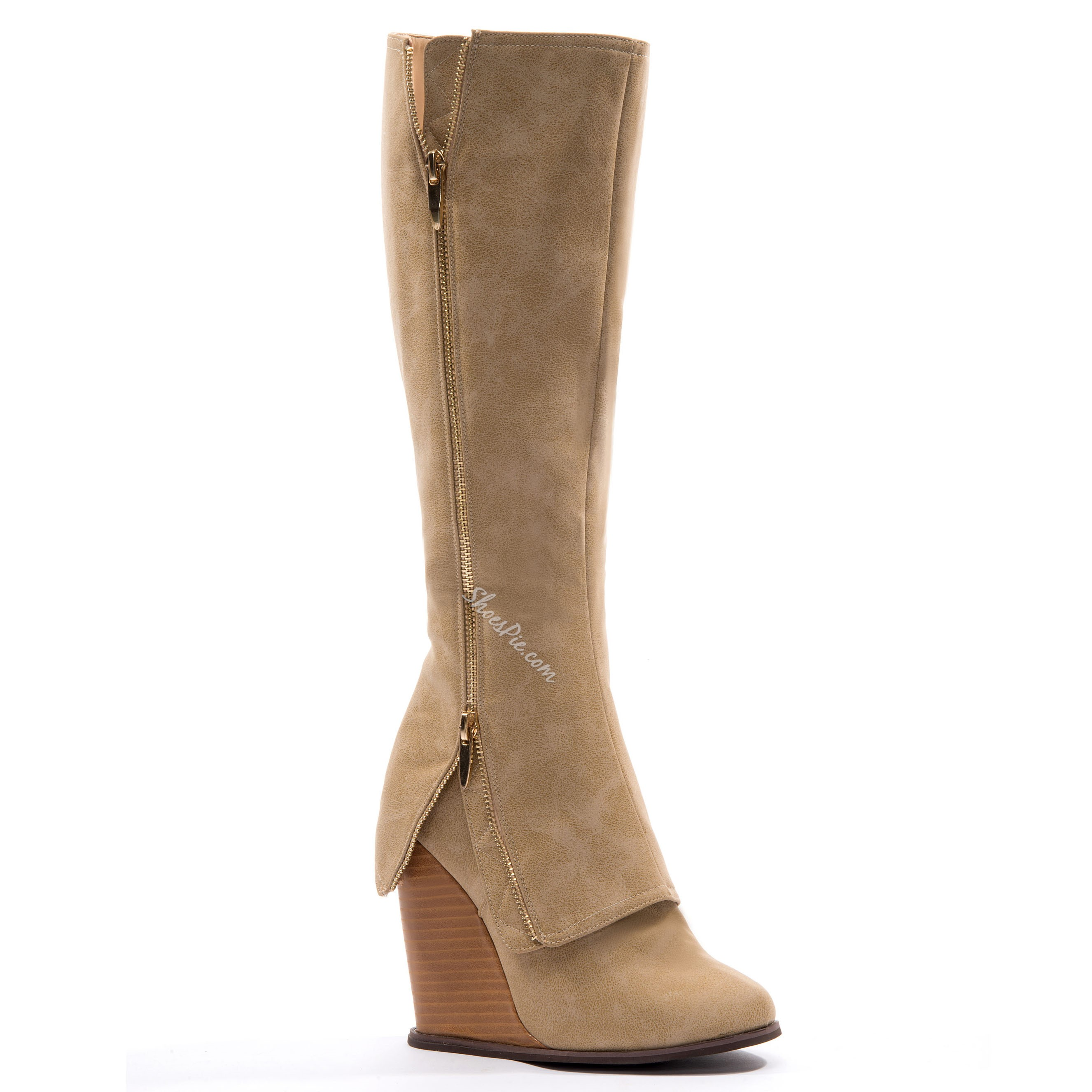 Glamerous Boots Wedge Kneel-high Zippers