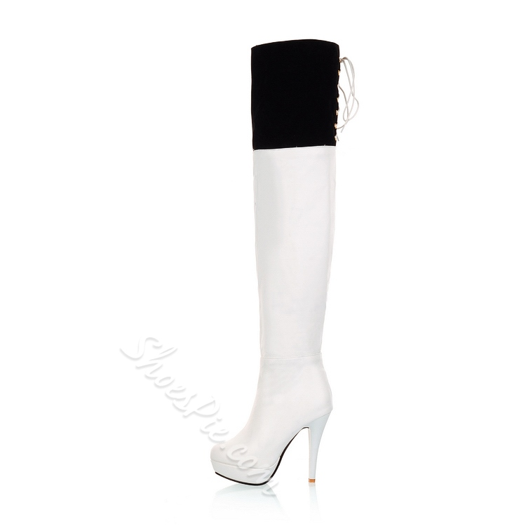 Shoespie Assorted Materials Knee High Boots