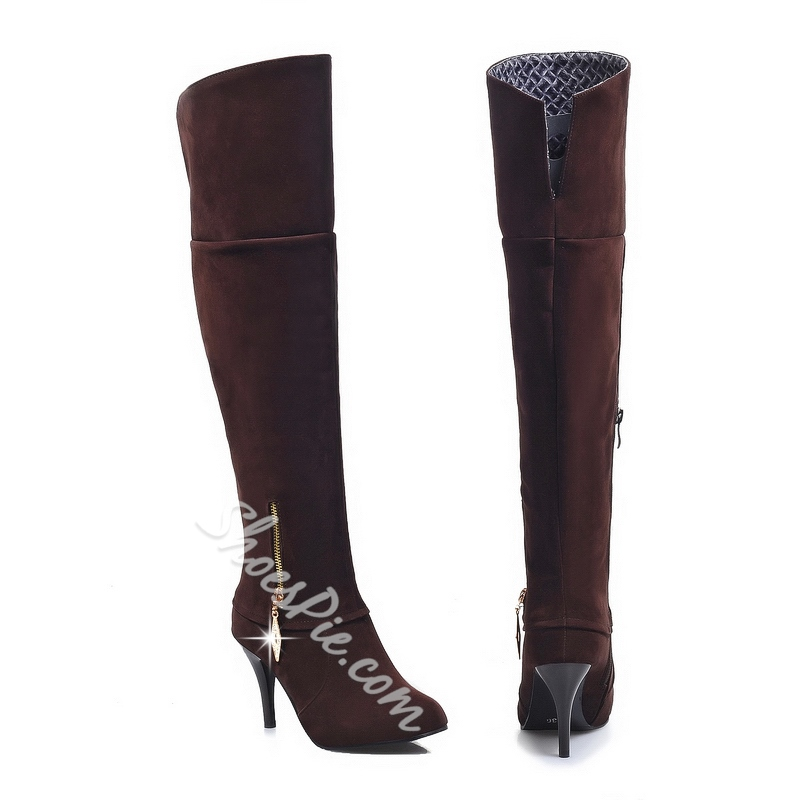 Shoespie Zipper Nubuck Thigh High Boots