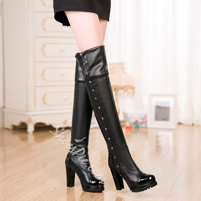 Shoespie Black Color Rivet Knee High Boots