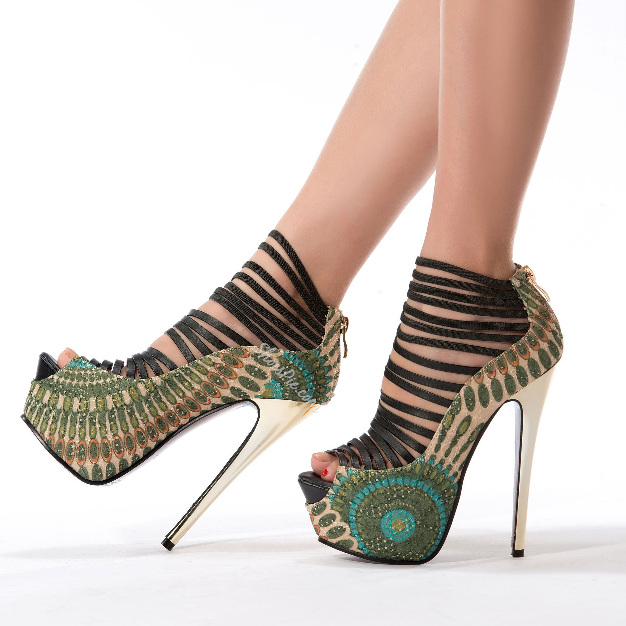 Amazing Flower Print Peep Toe Cut-Outs High Heel Shoes