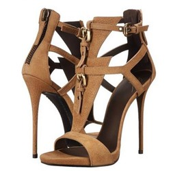 Shoespie Camel Buckle Strap Stiletto Heel Sandals