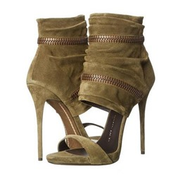 Shoespie Slouchy Zipper Decoration Suede Stiletto Heel Sandals