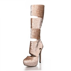 Shoespie Apricot Cut Out Knee High Boots
