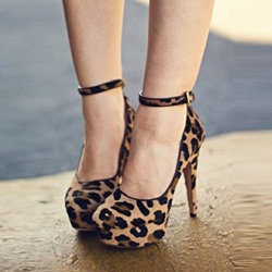 Shoespie Leopard Print Ankle Strap Heels