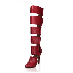 Shoespie Cut outs Pointed toe Knee High Boots
