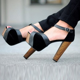 Fashionable Black & Gray Suede Chunky Heel Ankle Strap High Heel Shoes