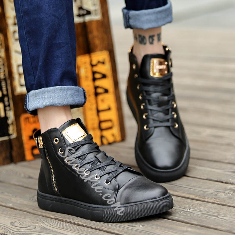 Shoespie Lace-Up Boots Sequin Men's Sneakers