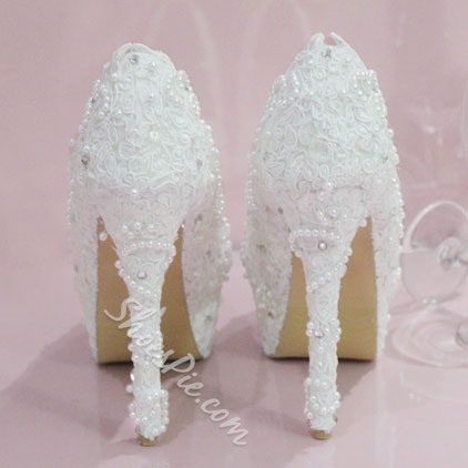 Elegant White Lace Beading High Heel Wedding Shoes