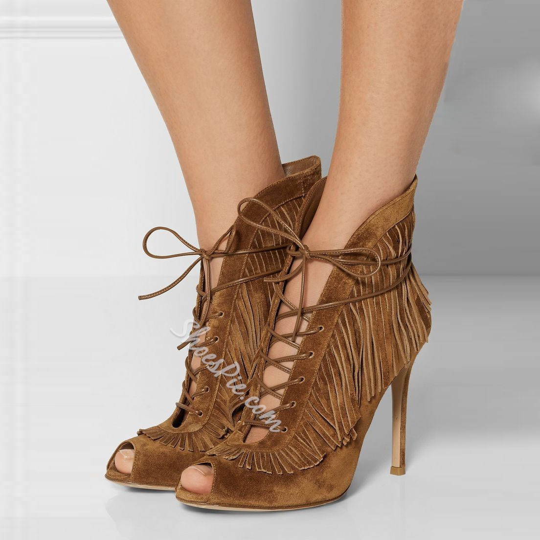 Shoespie Classic Tassels Pee Toe Lace Up Shoes